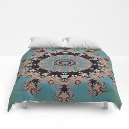 Blue Virtue Fractal Mandala Comforters