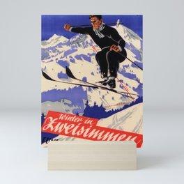 placard winter in zweisimmen schweiz funi rinderberg saut Mini Art Print