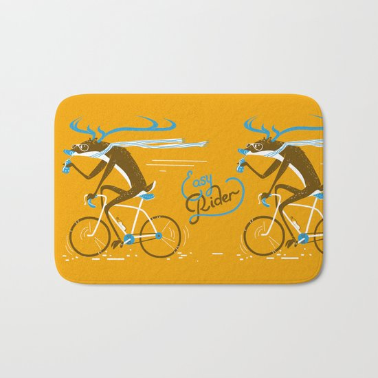 Easy Rider // (cycling hipster deer) Bath Mat