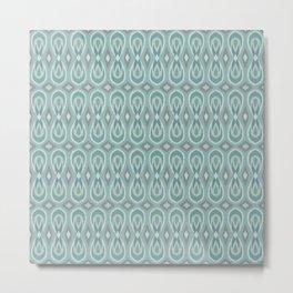 Ikat Teardrops in Sea Foam, Teal, Gray Metal Print