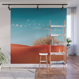 Red Desert Sand With Dusty Bush and Blue Sky Wall Mural