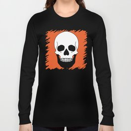 Halloween Orange Skull Design Long Sleeve T-shirt