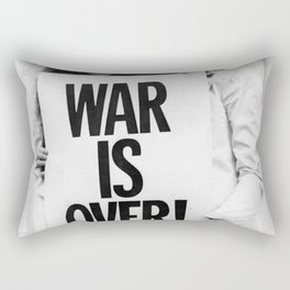 ohn Len-non and Yoko Ono WAR IS OVER Poster, The Bea-tles, pea-ce Iconic Vintage Art Photography Picture, Home Décor Wall Art Rectangular Pillow