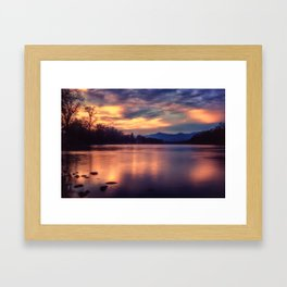 A night at the river Framed Art Print