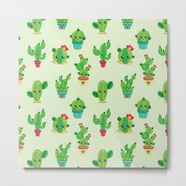 Kawaii Cactus Neck Gaiter Cactus Neck Gator Metal Print