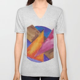 180819 Geometrical Watercolour 6| Colorful Abstract | Modern Watercolor Art Unisex V-Neck