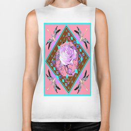 Western White Rose & Dragonflies Abstract Design Biker Tank