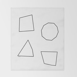 Let's Love Our Shapes! no.2 - black and white minimalist modern art Throw Blanket