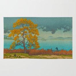 Vintage Japanese Woodblock Print Autumn Japanese Landscape Field Tall Tree Rug