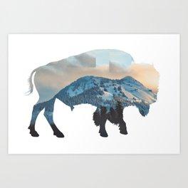 Bison Mountain Art Print