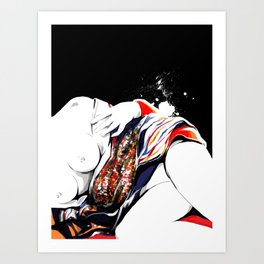 Woman wears a traditional kimono, Naked Body, Fashion illusration, Bueaty Portrait Art Print
