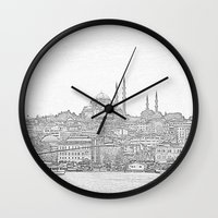 istanbul Wall Clocks featuring İstanbul by Necla Karahalil
