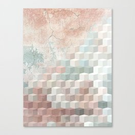 Distressed Cube Pattern - Nude, turquoise and seashell Canvas Print