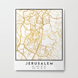 JERUSALEM ISRAEL PALESTINE CITY STREET MAP ART Metal Print