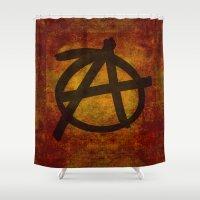 sons of anarchy Shower Curtains featuring Anarchy by BruceStanfieldArtist.DarkSide