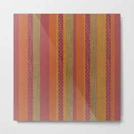Rustic Striped Orange and Red Pattern Metal Print