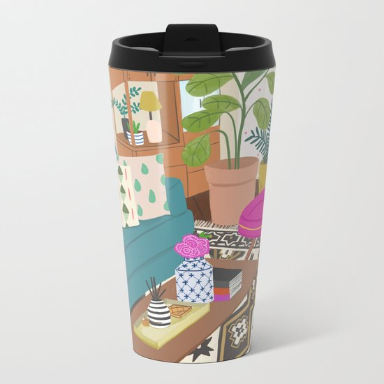 Home Series 1, interior, home, place, living room illustration Metal Travel Mug