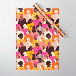 Female diverse faces pink Wrapping Paper