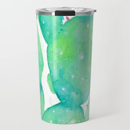 Teal Watercolour Cactus Travel Mug