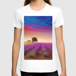'Sunset over Tuscany Fields of Lavender' landscape painting T-shirt
