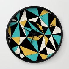 Geo - blue, orange, black and white. Wall Clock