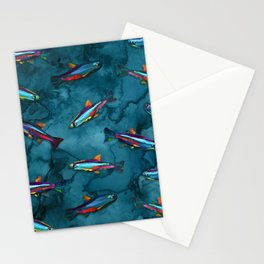 NEON TETRA FISH PATTERN Stationery Cards