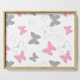 Pink Gray Butterfly Serving Tray