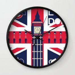 Vintage Union Jack UK Flag with London Decoration Wall Clock