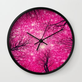 Black Trees Coral Pink Space Wall Clock