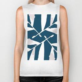 Geometric White on Blue 4 fall tropical pattern Palm leaves, society6 Biker Tank