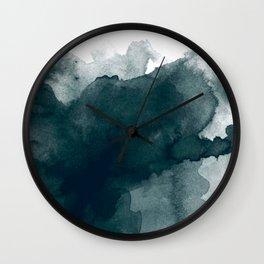 Dark Green Watercolor Marble Wall Clock