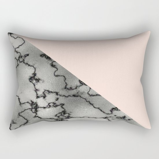 Peach and silver marble metallic Rectangular Pillow