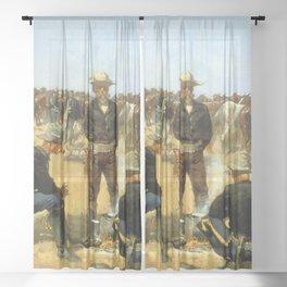 "Frederic Remington Western Art ""Cavalryman's Breakfast"" Sheer Curtain"