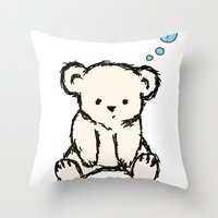 teddy bear Throw Pillows featuring Teddy by RaJess