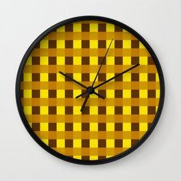 Retro Yellow Squares Wall Clock