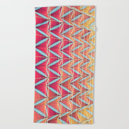 From pink to yellow pattern Beach Towel