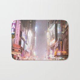 New York City Colorful Snowy Night in Times Square Bath Mat
