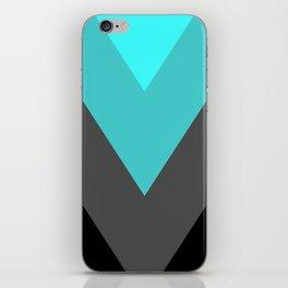 Aqua Gray Chevron Stripes iPhone Skin