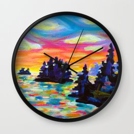 Landscape With Saucers Wall Clock