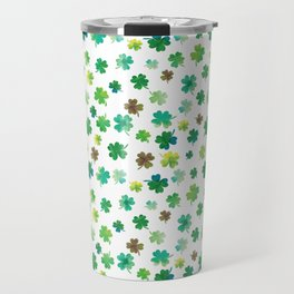 Lucky Watercolor Clovers Travel Mug