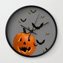 HALLOWEEN FLYING  BLACK BATS & CARVED PUMPKIN FACE Wall Clock