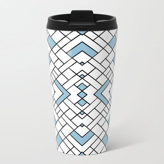 PS Grid 45 Sky Blue Metal Travel Mug