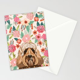 Labradoodle portrait floral dog portrait cute art gifts for dog breed lovers Stationery Cards