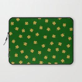 Golden Shamrocks Green Background Laptop Sleeve