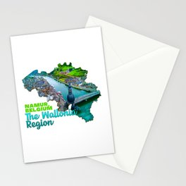 The Wallonia region Namur Belgium Water Lake Green Tree Bridge Stationery Cards