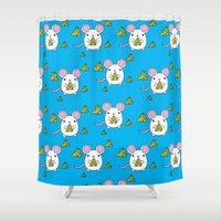 cheese Shower Curtains featuring Love Cheese by LeaLea Rose