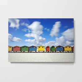 Colourful Huts at Muizenberg In Cape Town Metal Print