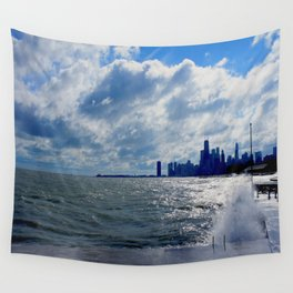 When Sandy Made Waves in Chicago #4 (Chicago Waves Collection) Wall Tapestry