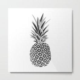 Minimalist Black & White Pineapple Metal Print