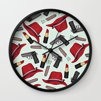 peggy carter Wall Clocks featuring Peggy Carter Pattern by HayPaige